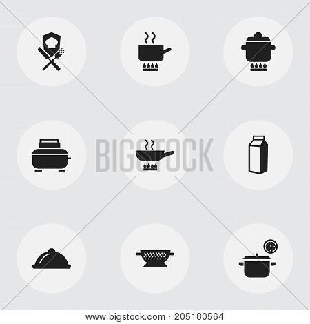 Set Of 9 Editable Restaurant Icons. Includes Symbols Such As Stewpot, Saucepan, Milk Bottle And More