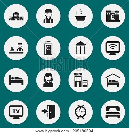 Set Of 16 Editable Hotel Icons. Includes Symbols Such As Wireless Tv, Hotel, Female And More