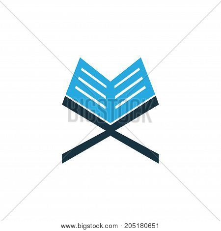 Premium Quality Isolated Holy Book Element In Trendy Style.  Koran Colorful Icon Symbol.