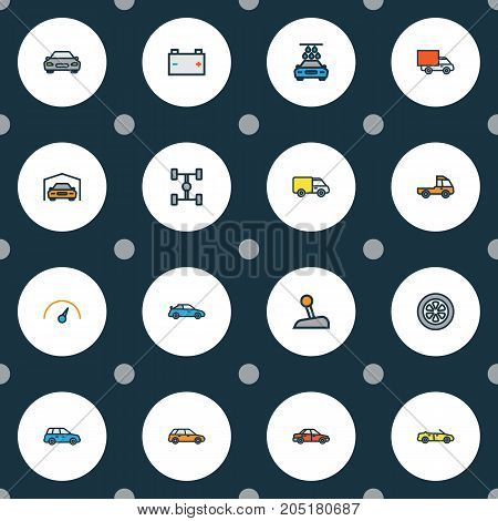 Auto Colorful Outline Icons Set. Collection Of Automobile, Drive, Truck And Other Elements