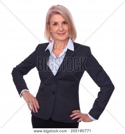 Happy Senior Businesswoman Isolated