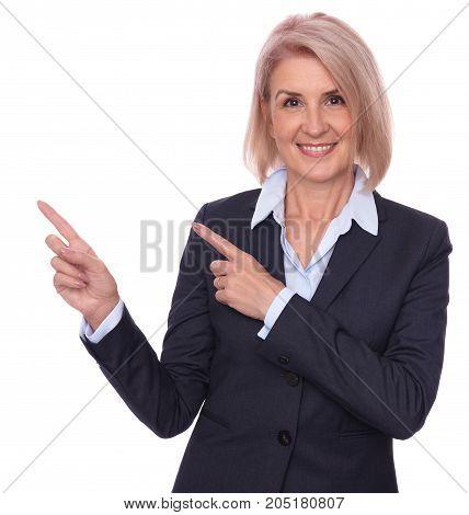 Senior Businesswoman Pointing Fingers