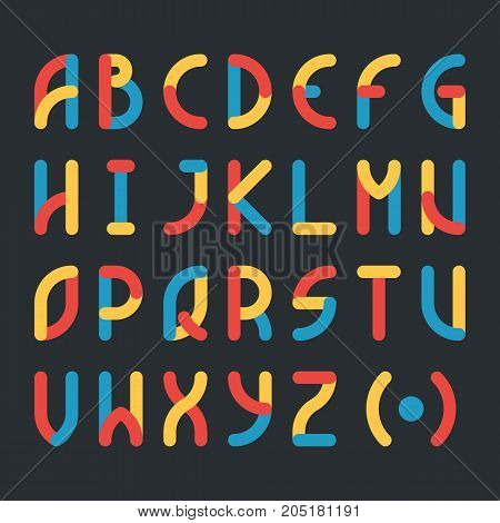 Cute colored font and alphabet. Vector illustration of modern stylised isolated on dark background