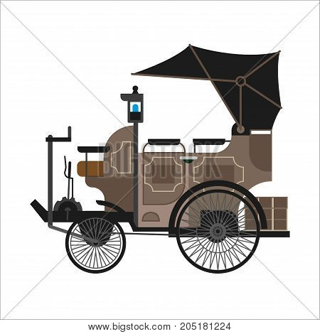 Old car or vintage retro automobile. Antique veteran or steampunkstyle collector auto car model with retractable cabriolet hardtop. Vector isolated icon
