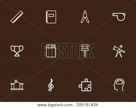 Set Of 12 Editable Science Outline Icons. Includes Symbols Such As Pushpin, Encyclopedia, Straightedge And More