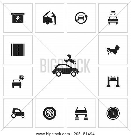 Set Of 13 Editable Vehicle Icons. Includes Symbols Such As Car, Odometer, Battery And More