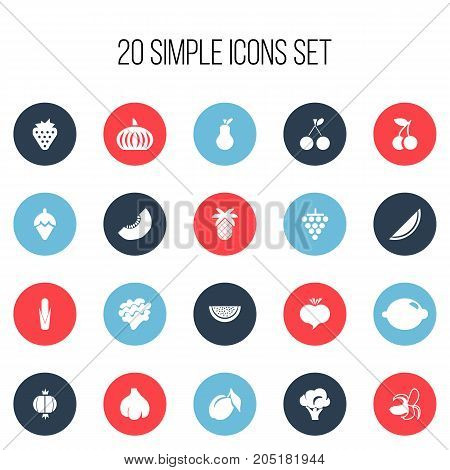 Set Of 20 Editable Dessert Icons. Includes Symbols Such As Bulb, Radish, Berry And More