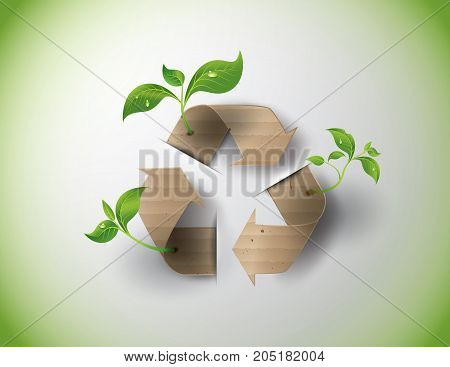 Recycle symbol or sign of conservation . Vector symbol paper cut style