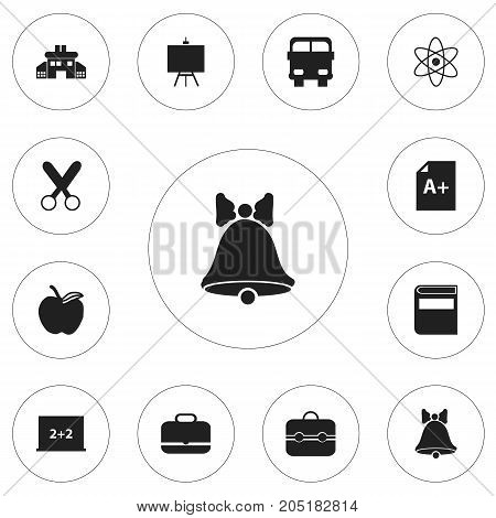 Set Of 12 Editable Knowledge Icons. Includes Symbols Such As Apple, Literature, Page And More