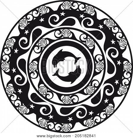 circular ornament delf and shell black and white