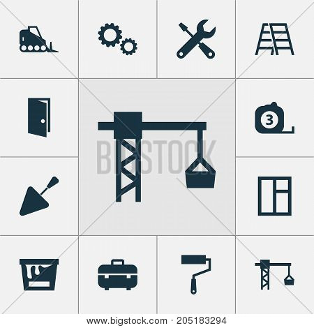 Building Icons Set. Collection Of Measure Tool, Stair, Paint Roller And Other Elements