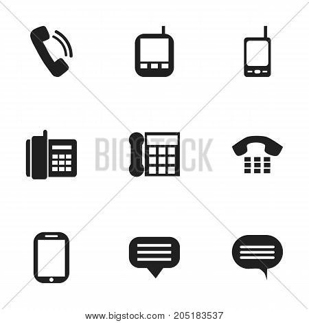 Set Of 9 Editable Device Icons. Includes Symbols Such As Forum, Home Cellphone, Talking And More