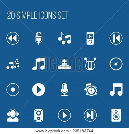 Set Of 20 Editable Multimedia Icons. Includes Symbols Such As Backward, Previous, Musical Instrument And More