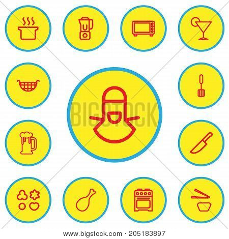 Set Of 13 Editable Cook Outline Icons. Includes Symbols Such As Drink, Food Cutter, Beer And More