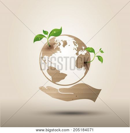 Ecology concept . Vector symbol paper cut style