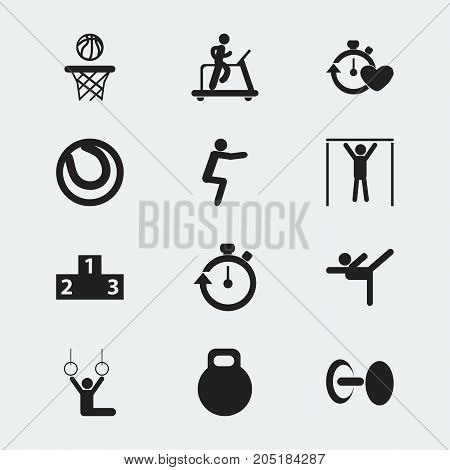 Set Of 12 Editable Lifestyle Icons. Includes Symbols Such As Weightiness, Stopwatch, Platform For Winner And More