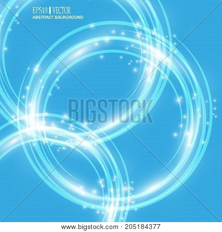 Smooth light blue waves lines and Lens Flares vector abstract background. Good for promotion materials, brochures, banners. Abstract Backdrop, Glowing effects. Vector