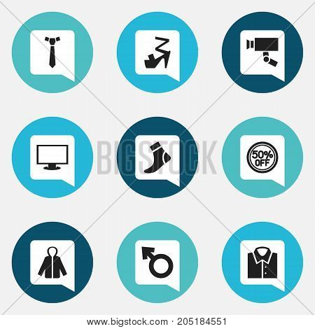 Set Of 9 Editable Business Icons. Includes Symbols Such As Necktie, Hosiery, Rebate And More