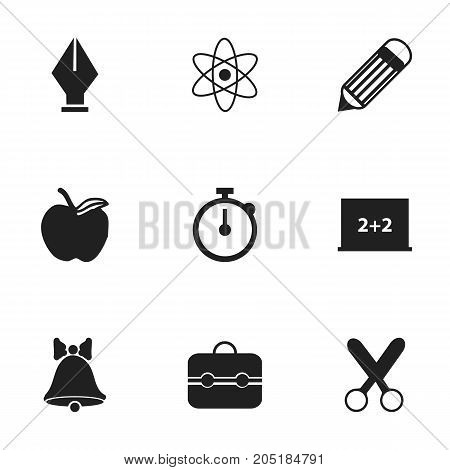 Set Of 9 Editable Knowledge Icons. Includes Symbols Such As Eraser, Cutting, Timer And More