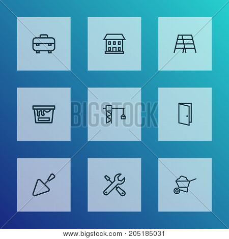Construction Outline Icons Set. Collection Of Door, Stepladder, Trowel And Other Elements