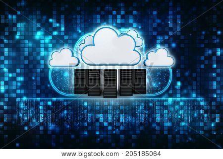 3d rendering Cloud computing concept, cloud storage