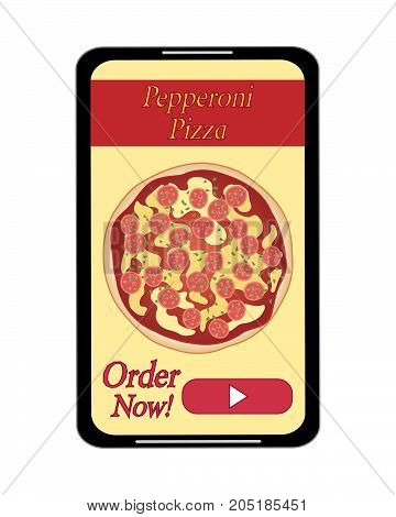 an illustration of an advert for pizza delivery on a modern phone with pepperoni pizza on a black handset on a white background