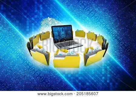 3d illustration of Data sharing concept, internet concept