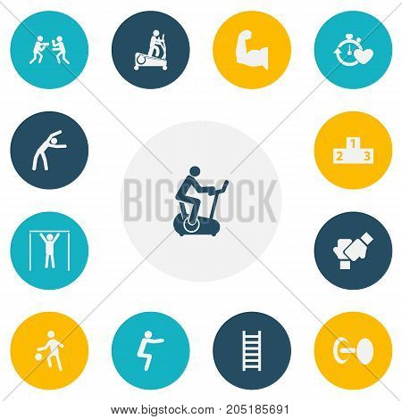 Set Of 13 Editable Active Icons. Includes Symbols Such As Street Workout, Gauntlet, Stairway And More