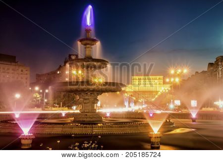 Union Square Fountain at night in Bucharest, Romania