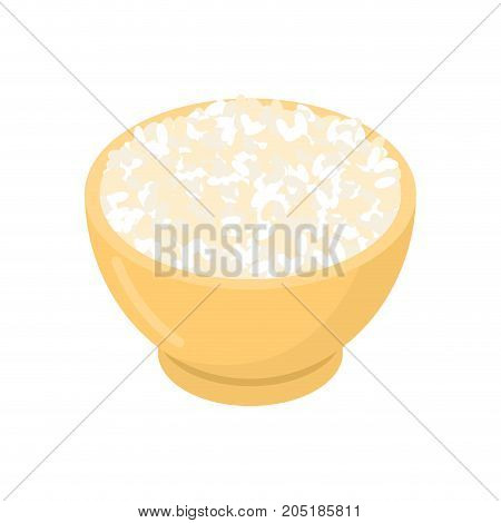 Round Rice In Wooden Bowl Isolated. Groats In Wood Dish. Grain On White Background. Vector Illustrat