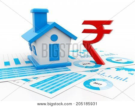 House with rupee symbol. Real Estate Concept with Indian Rupee. 3d render