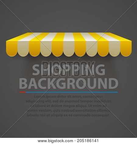 Store striped awning modern background. Vector illustration