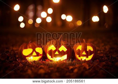 Three Kind Halloween Pumpkins in the park at night