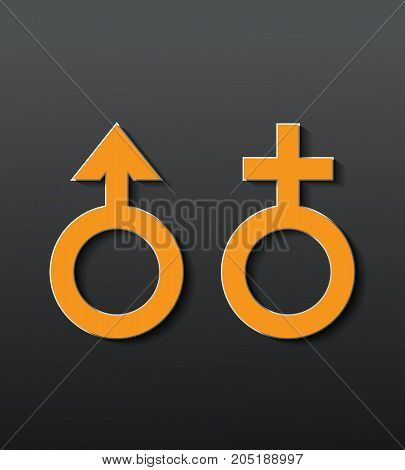 Sex icon with black background.male and female.