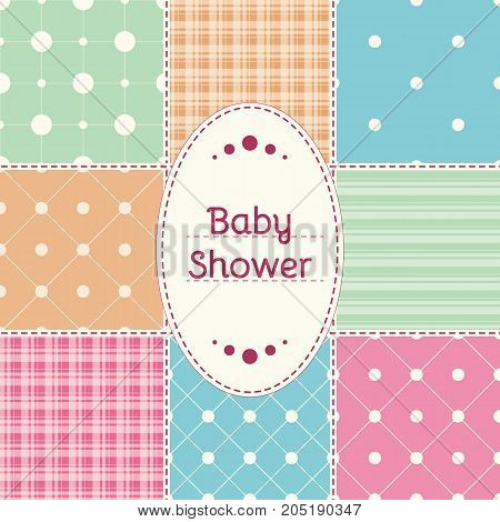 Baby shower invitation card. Baby girl boy or twins arrival shower Greeting announcement card. Vector illustration postcard embroidery patchwork stylization