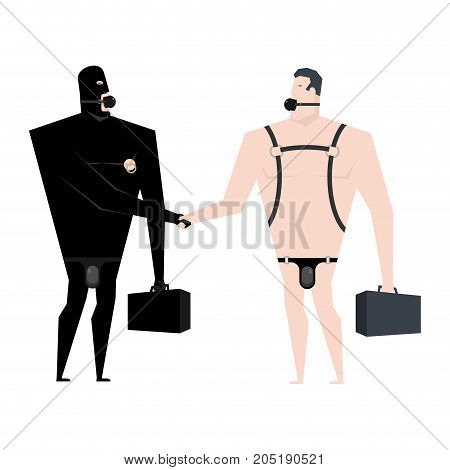 Businessman Handshake Bdsm Slave. Boss Leather Bandage. Sexy Games For Adults. Subordination And Dom