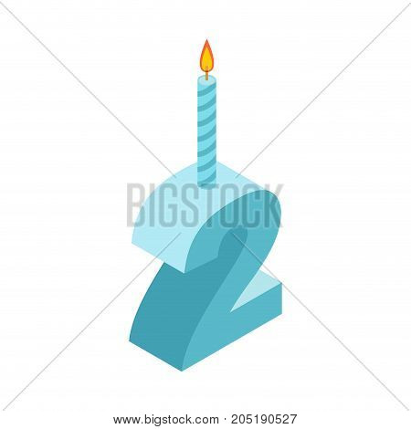 2 Number And Candles For Birthday. Two Figure For Holiday Cartoon Style. Vector Illustration