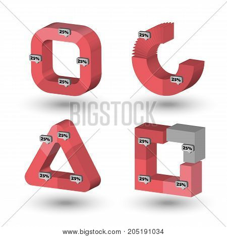 Red and gray Three dimensional Circle and polygon charts for infographics