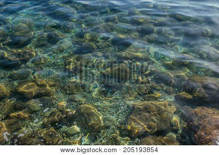 transparent water of the sea near the coast of Corfu, Greece