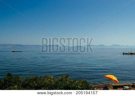blue sea and coastline of Corfu, Greece