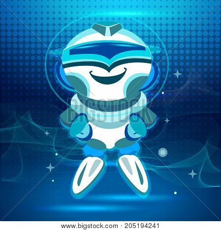 Cute smiling robot, chatbot say hi.Vector modern outline flat cartoon character illustration. Voice support service bot, virtual online help support concept. Cartoon style. Vector illustration