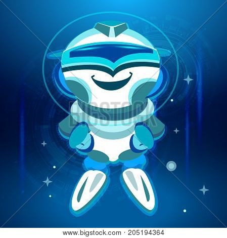 Bot. Chatbot. Cute smiling Robot in Vector. Voice support service bot, virtual online help support concept. Cartoon style.