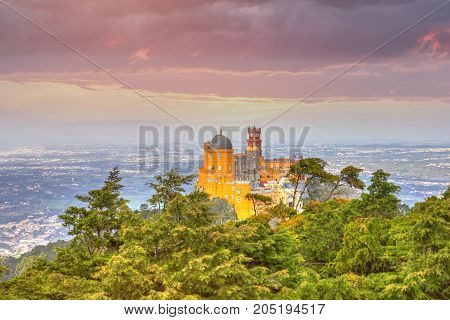 National Palace of Pena at sunset - Sintra, Lisboa, Portugal, Europe
