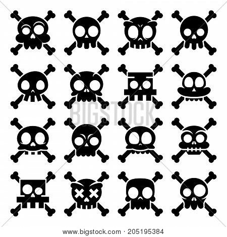 Halloween vector cartoon skull with bones icons, Mexican cute black sugar skulls design set, Dia de los Muertos