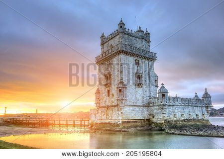 Belem Tower at sunrise. Lisbon architecture. Portugal
