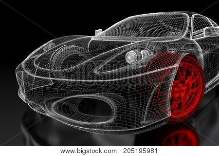Car vehicle 3d blueprint mesh model image photo bigstock car vehicle 3d blueprint mesh model with a red wheel tire on a black background malvernweather Gallery