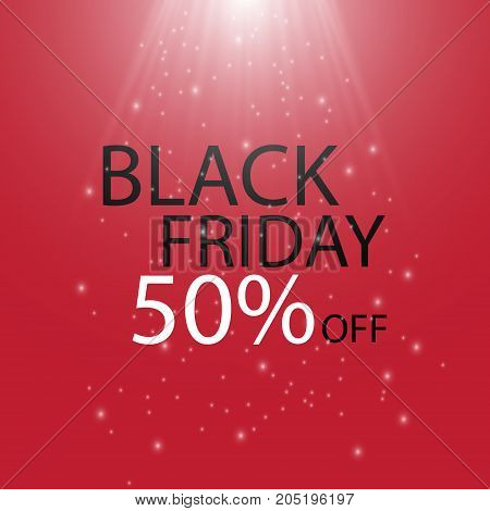 Black Friday Black fog and light on red background. Vector