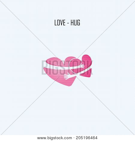 LOVE-HUG-FRIENDS FOREVER vector logo design template.Aid & love icon.Wedding logo.Bridegroom & Bride icon idea concept.Family, man & woman, boy & girl, Boyfriend & girlfriend sign .Love & Heart Care logo. Vector illustration