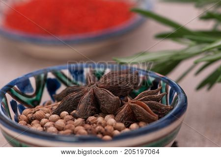 Spices Close Up In A Plate