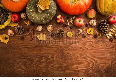 Thanksgiving dinner. Autumn fruit with plate and cutlery. Thanksgiving autumn background. Flat lay, top view